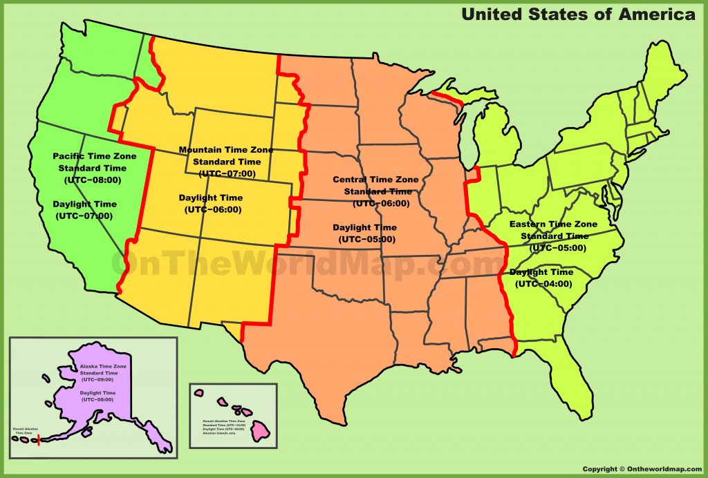 Usa Time Zone Map | Printable United States Time Zone Map