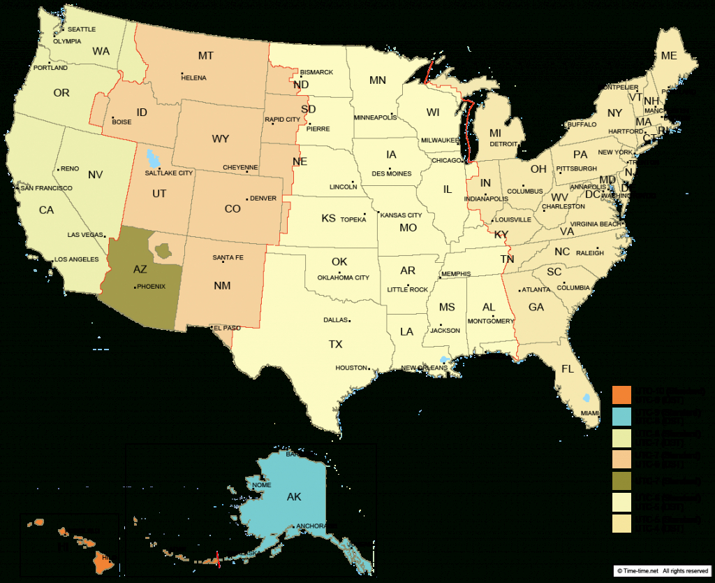 Usa Time Zone Map - With States - With Cities - With Clock - With   Printable Usa Time Zone Map With States
