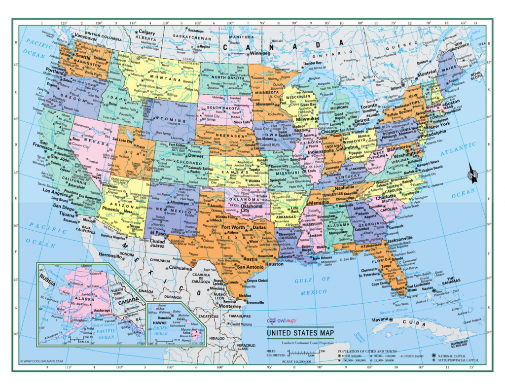 "Usa United States Wall Map Color Poster 22""x17"" - Large Print Rolled 