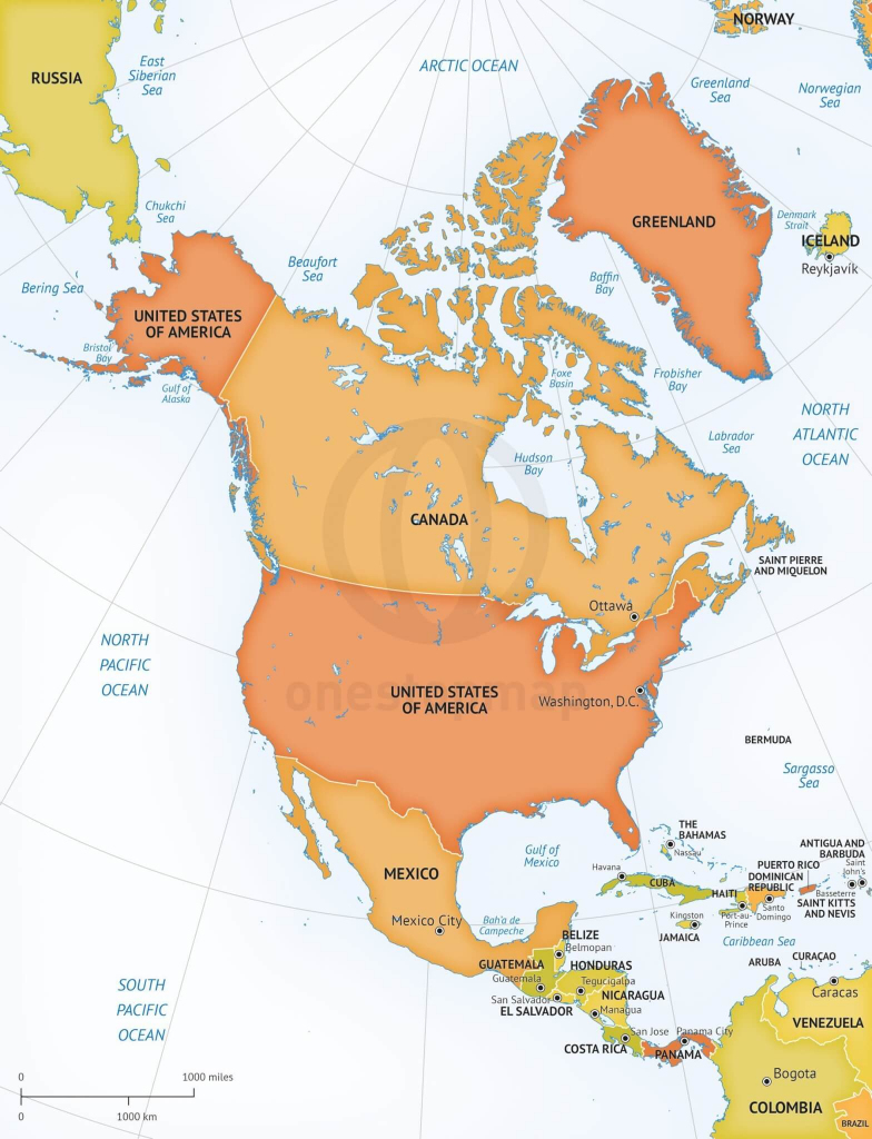 Vector Map Of North America Continent | One Stop Map | Printable Map Of North American Countries
