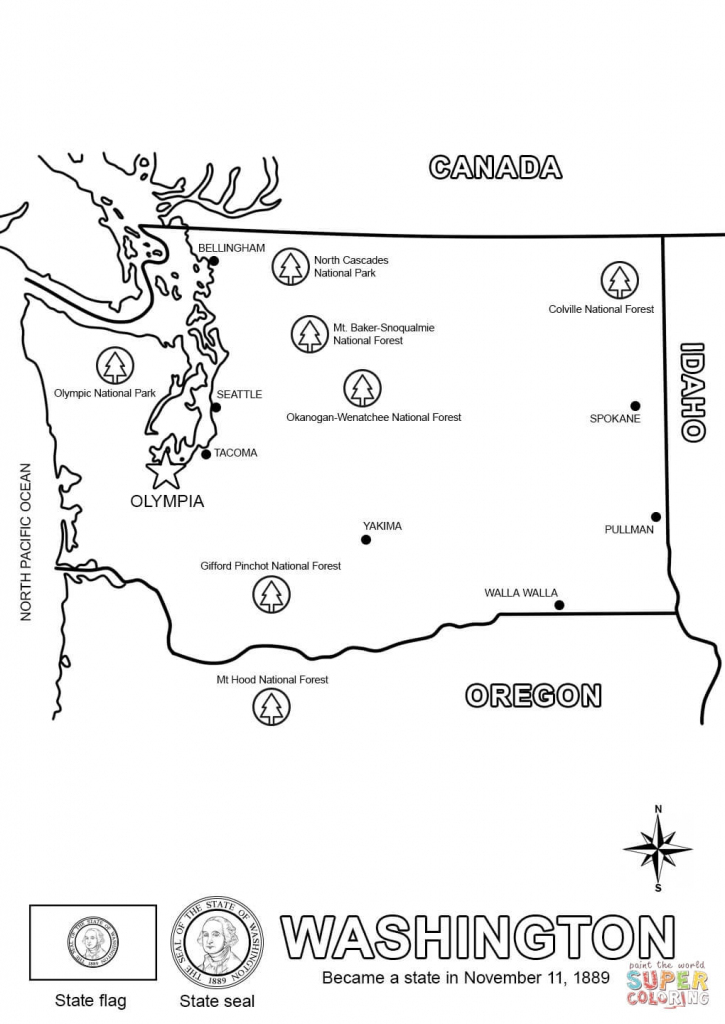 Washington State Map Coloring Page | Free Printable Coloring Pages | Printable United States Map Coloring Page