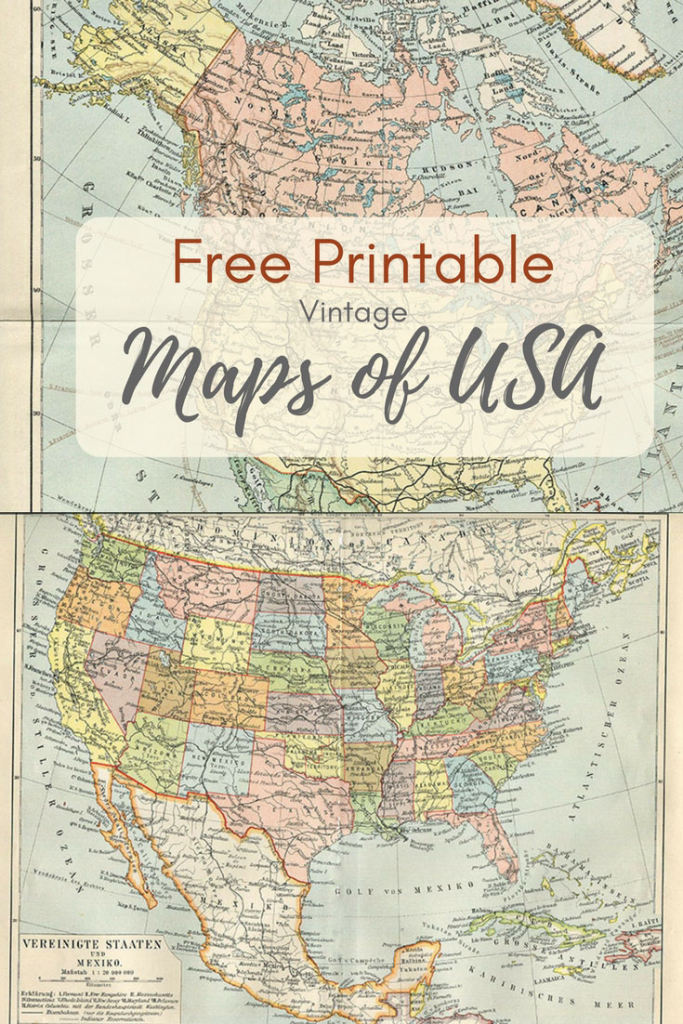 Wonderful Free Printable Vintage Maps To Download - Pillar Box Blue | 8X10 Printable Map Of The United States